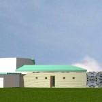 Maison Organique bois et thermopierre en Vendée vue générale de la façade nord en 3D