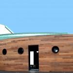 Maison Organique bois et thermopierre en Vendée vue générale de la façade nord bardée en red cedar