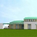 Maison Organique bois et thermopierre en Vendée  vue Sud en 3D