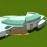 Maison Organique bois et thermopierre en Vendée vue d'avion en 3D