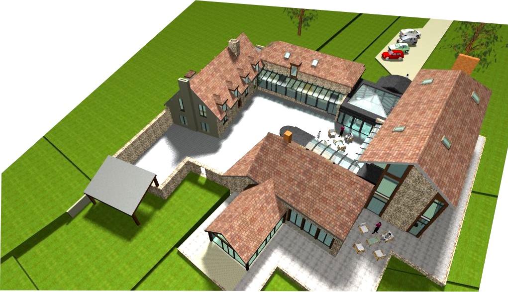 Le projet pévoit un ensemble de verrières reliant des bâtiments largement ouverts sur le site