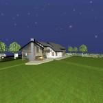 Extension maison bois dans l'Oise - Vue nocturne Sud-Ouest