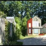 Maison contemporaine en Seine et Marne - vue de l'entrée - perspective couleur projet