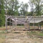 Centre équestre Vue nord-ouest de la structure bois existante