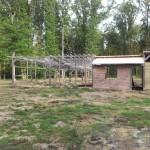 Centre équestre Vue sud-ouest de la structure bois existante