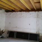 Réfection du plancher bois du logement de gardien et préparation des murs de la cave